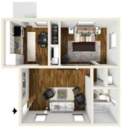 1 Bed - 1 Bath |700 sq ft Floorplan