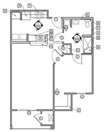 1 Bed - 1 Bath  758 sq ft floorplan
