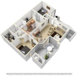 2 Bed - 2 Bath  1040 sq ft Two Bedroom floorplan