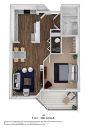 1 Bed, 1 Bath, 630 sq. ft. AR floor plan