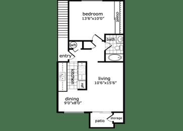 1 Bed, 1 Bath, 648 square feet floor plan Flat Creek