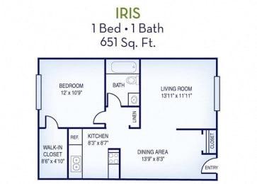 1 Bed, 1 Bath, 651 sq. ft. Iris floor plan