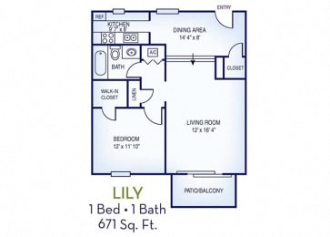 1 Bed, 1 Bath, 671 sq. ft. Lily floor plan