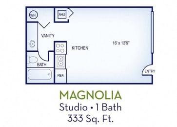 Studio, 333 sq. ft. Daisy floor plan