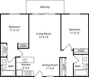 2 Bed - 2 Bath |1008 sq ft floorplan