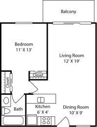 1 Bed - 1 Bath |672 sq ft floorplan