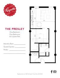 1 Bed 1 Bath 863 square feet floor plan The Presley