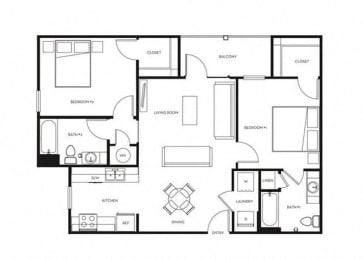 2 Bed, 2 Bath, 948 sq. ft. B1