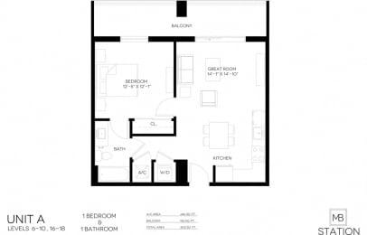 1 Bed 1 Bath 667 square feet floor plan AA
