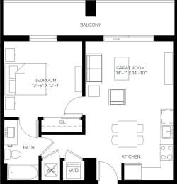 1 Bed 1 Bath 646 square feet floor plan A