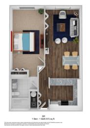 1 Bed - 1 Bath 672 sq. ft. BR floor plan