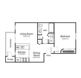 1 Bed - 1 Bath, 622 sq ft, Bayside floorplan