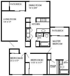 3 Bed - 2 Bath, 1205 sq ft floor plan