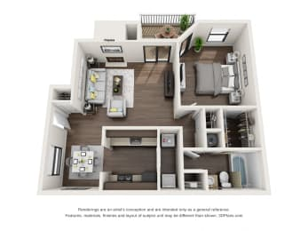1 Bed, 1 Bath, 756 sq. ft.
