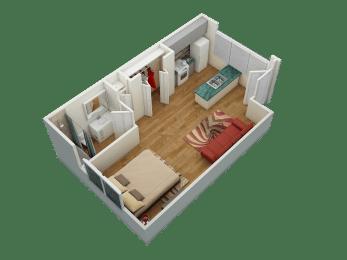 Brickyard Flats Studio Floorplan