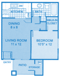 Cantera 1A Floor Plan image showing layout of apartment. Bedroom and bath to the right, living room and kitchen to the left.