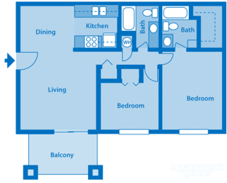 Catalina Canyon 2B Floor Plan Image depicting layout. Balcony, living room and kitchen on the left. Bedrooms and bathrooms on the right.