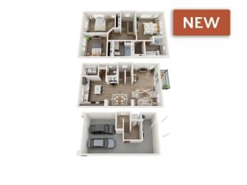 3 bedroom townhomes 3d floorplan