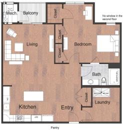 1 Bedroom 1 Bathroom Deluxe Sto Floor Plan