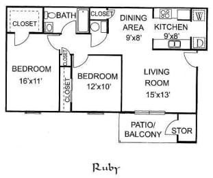 Floor Plan RUBY 2 Bedroom 1 Bathroom