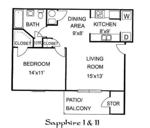 Floor Plan SAPPHIRE I 1 Bedroom 1 Bathroom