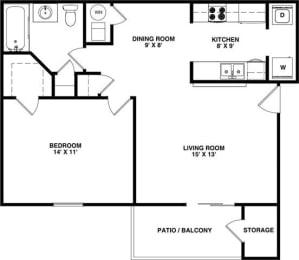 Floor Plan FINCH 1 Bedroom 1 Bathroom