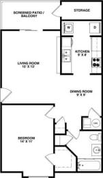 Floor Plan GULL 1 Bedroom 1 Bathroom Private Entry