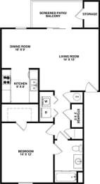 Floor Plan LARK 1 Bedroom 1 Bathroom