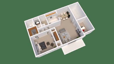 1 Bedroom 1 Bathroom Plus Den Floor Plan at The Lodge Apartments, Indianapolis, IN