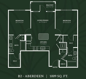 B2 2 BED 2 BATH  ABERDEEN Floor Plan at Alta Croft, Charlotte, NC
