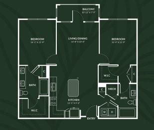 B1a 2 BED 2 BATH ACCESS DUNDEE Floor Plan at Alta Croft, Charlotte, NC, 28269