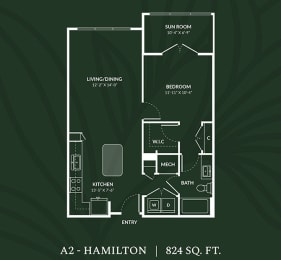 A2  1 BED 1 BATH SUN RM  HAMILTON Floor Plan at Alta Croft, North Carolina, 28269