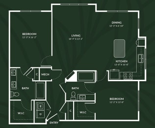 B5.3 2 BED 2 BATH BAY  IVERNESS Floor Plan at Alta Croft, Charlotte, 28269