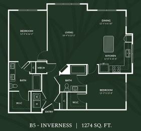 B5 2 BED 2 BATH IVERNESS Floor Plan at Alta Croft, Charlotte, NC