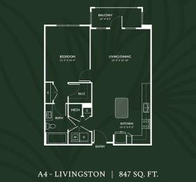 A4  1 BED 1 BATH LIVINGSTON Floor Plan at Alta Croft, Charlotte, 28269