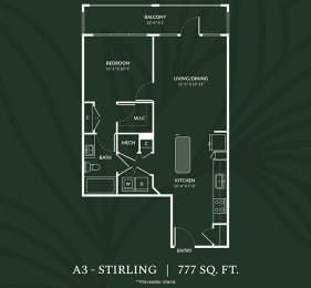 A3  1 BED 1 BATH  STIRLING Floor Plan at Alta Croft, Charlotte, NC