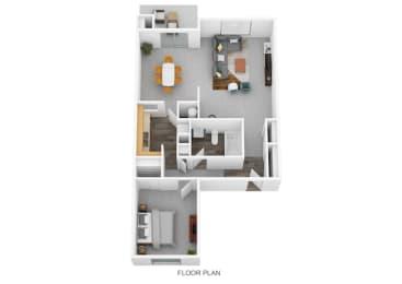 1 Bedroom A 1 Bath Floor Plan at Lawrence Landing, Indiana