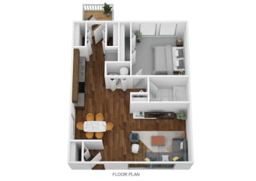 1 Bed Garden - North Floor Plan at Coldwater Flats, Indiana