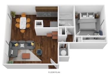 1 Bed Garden - South Floor Plan at Coldwater Flats, Indiana, 47714