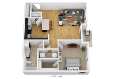 1 Bedroom G 1 Bath Floor Plan at Monmouth Row Apartments, Newport, KY