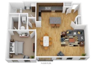 1 Bedroom F 1 Bath Floor Plan at Monmouth Row Apartments, Newport