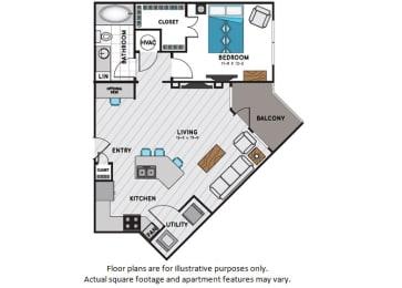 Floor Plan  A3 One Bedroom One Bath Floor Plan at Windsor Chastain, Atlanta, GA