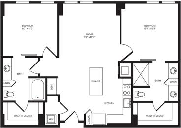 B1(3) floor plan at Windsor Turtle Creek, Dallas, TX