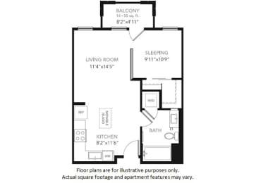 Floor Plan  S1-W Studio Floor Plan at Blu Harbor by Windsor, Redwood City, CA