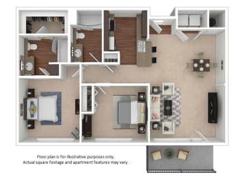 2x2_5A_1013sf floor plan at The District, Denver, Colorado