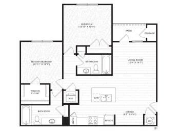 B1 Floor Plan at The Darby, Georgia