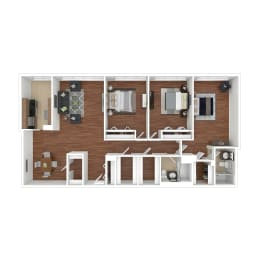 Colesville  Towers Apartments  3 bedroom floorplan 1340 sq ft