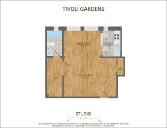Studio Floor Plan  540 Sqft