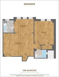 One Bedroom Floor Plan 680 sqft