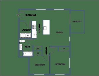 B3 2 bedroom 2 bathroom at Latitude at South Portland, Portland, 04106